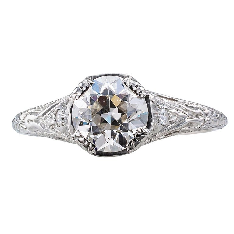 Art Deco 1.00 carat H SI1 old European cut diamond solitaire engagement platinum ring circa 1925. Centering upon an old European-cut diamond weighing 1.00 carat, accompanied by a report from EGL-USA stating that the diamond is H color and SI1
