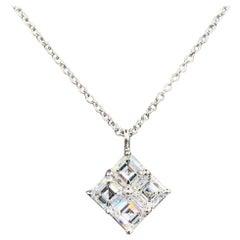 1.00 Carat Conflict Free Asscher Cut Diamond Pendant in 18 Karat