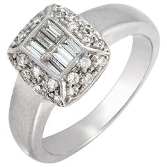 1.00 Carat Baguette and Round Diamonds 18 Karat White Gold Engagement Ring