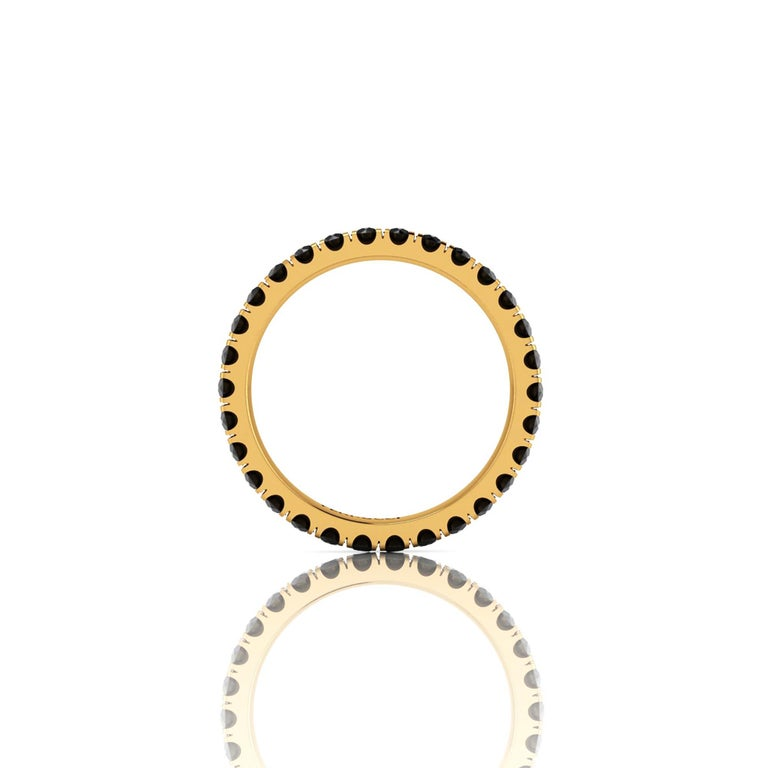 A classic beauty never ending, 1 carat of black diamonds set to perfection in a hand crafted, stackable 18k yellow gold eternity band, 2.3 mm wide, stackable collection, made in New York with the best Italian craftsmanship, size 6, complimentary