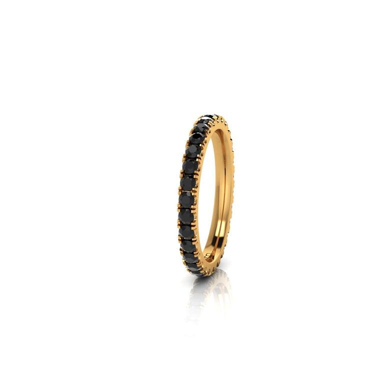 Modern 1.00 Carat Black Diamonds Stackable Eternity Band 18 Karat Yellow Gold For Sale