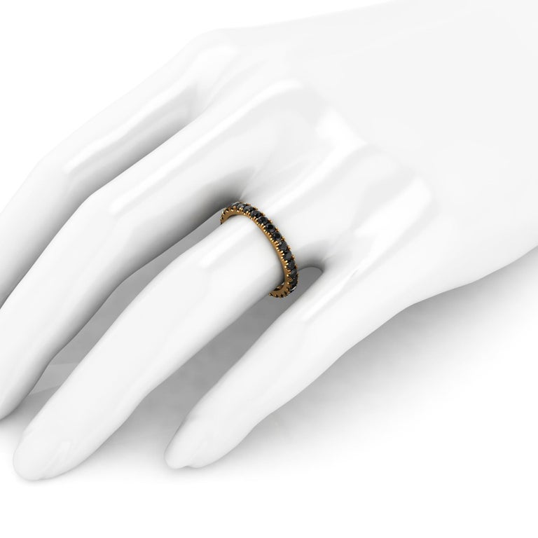 1.00 Carat Black Diamonds Stackable Eternity Band 18 Karat Yellow Gold In New Condition For Sale In Lake Peekskill, NY