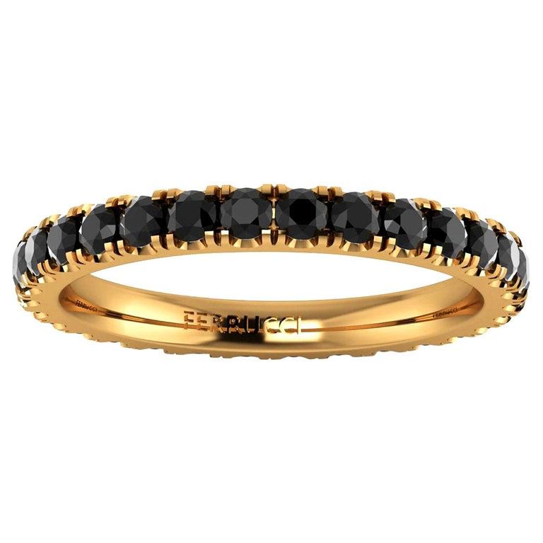 1.00 Carat Black Diamonds Stackable Eternity Band 18 Karat Yellow Gold For Sale