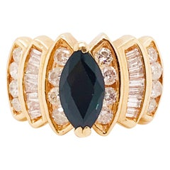 1.00 Carat Blue Sapphire and 1.00 Carat Diamond Custom Estate Ring, Yellow Gold