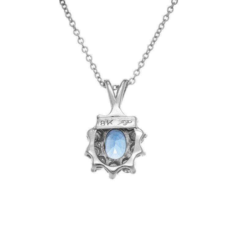 Oval Cut 1.00 Carat Blue Sapphire Diamond White Gold Pendant Necklace For Sale