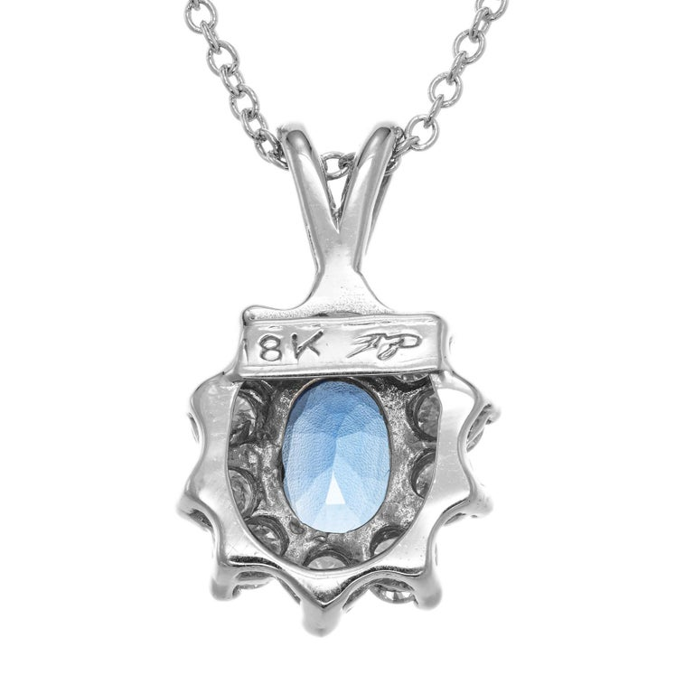 1.00 Carat Blue Sapphire Diamond White Gold Pendant Necklace In Excellent Condition For Sale In Stamford, CT