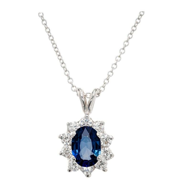 1.00 Carat Blue Sapphire Diamond White Gold Pendant Necklace For Sale