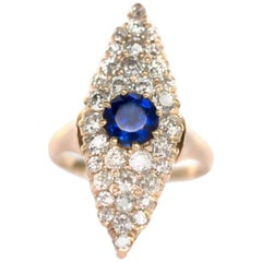 1.00 Carat Blue Sapphire Yellow Gold Engagement Ring
