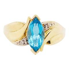 Topaz Diamond Ring, 1.00 Carat Blue and White, Estate Ring, 10k Yellow Gold