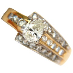 1.00 Carat Brilliant Pear Shape Diamond Ring 14 Karat Crossover Deco
