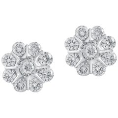1.00 Carat Certified Round Diamond Flower Stud Earring 18 Karat Gold