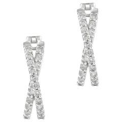 1.00 Carat Certified Round Diamond Hoop Earring 14 Karat Gold
