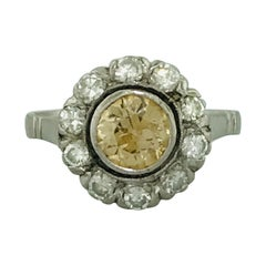 1.00 Carat Champagne Old European Cut Diamond and Diamond Halo Engagement Ring