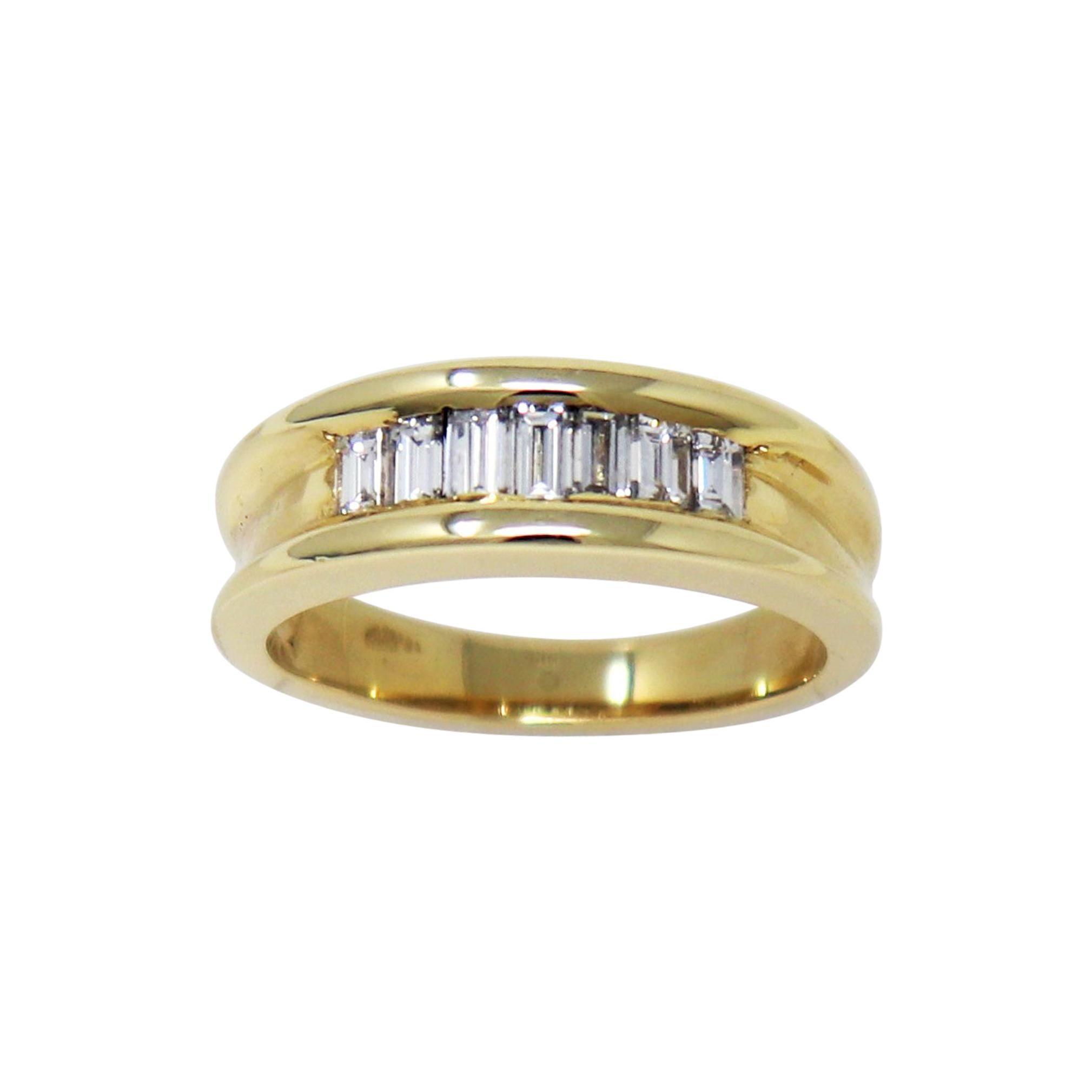 1.00 Carat Channel Set Baguette Diamond Band Ring in 14 Karat Yellow Gold Unisex
