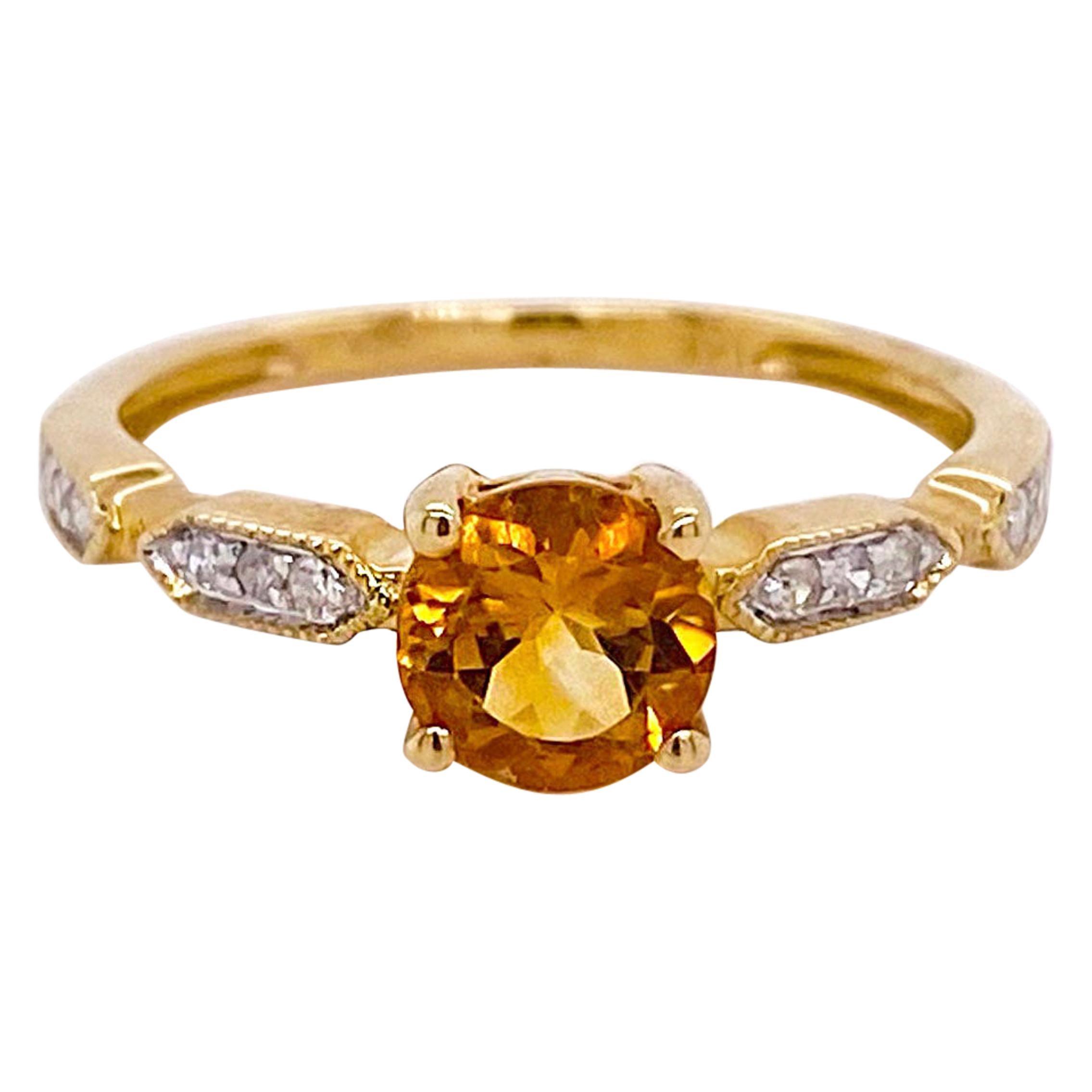 1.00 Carat Citrine and Diamond Ring 14 Karat Yellow Gold Ring November