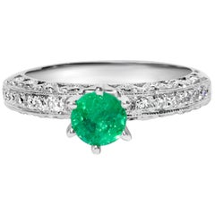 1.00 Carat Colombian Emerald Diamond Engagement Ring