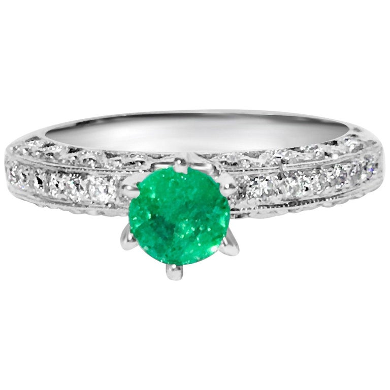 1.00 Carat Colombian Emerald Diamond Engagement Ring For Sale