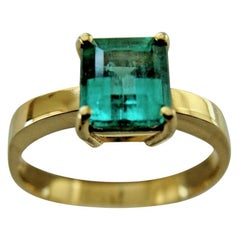 1.00 Carat Colombian Emerald Solitaire Engagement Ring 18 Karat