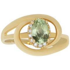 1 Carat Color Change Diaspore and Diamond Ring