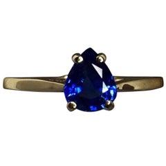 1.00 Carat Cornflower Blue Ceylon Sapphire 14 Karat Pear Cut Solitaire Gold Ring