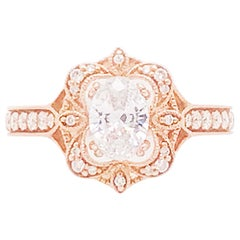 1.00 Carat D VS2 Oval Diamond Antique Style Rose Gold Engagement Ring