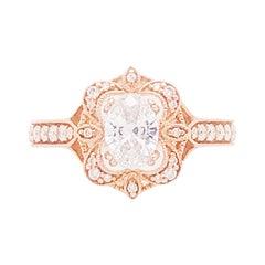 1.00 Carat D VS2 Oval Diamond Antique Vintage Engagement Ring, 1.30 Cttw