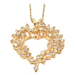 1.00 Carat Diamond 14 Karat Yellow Gold Heart Pendant Necklace