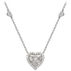 1.00 Carat Diamond 18 Karat White Gold heart Necklace