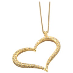 1.00 Carat Diamond 18 Karat Yellow Gold Heart Pendant on 14 Karat Gold Necklace