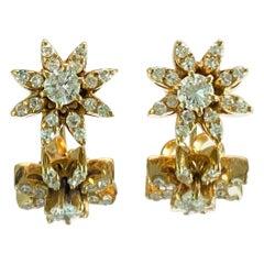 1.00 Carat Diamond and Gold Star Motif Studs