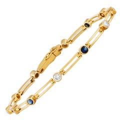 1.00 Carat Diamond and Blue Sapphire Gold Bracelet