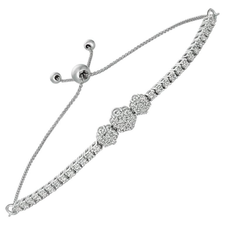 1.00 Carat Diamond Bolo 3 Flower Bracelet G SI 14 Karat White Gold Adjustable