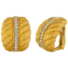 1.00 Carat Diamond Convertible Clip/Post Gold Earrings