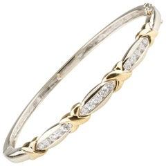 1.00 Carat Diamond Crossover Bangle Bracelet in Two-Tone Gold