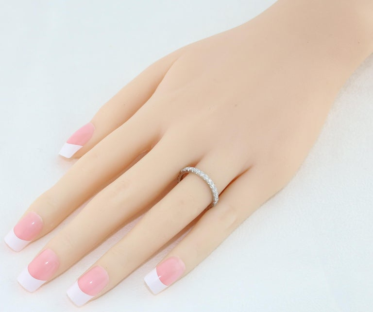 Women's 1.00 Carat Diamond Eternity Platinum Band Ring For Sale