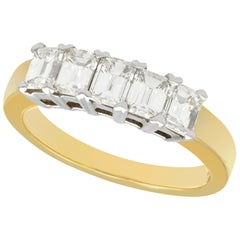 1.00 Carat Diamond Five-Stone Yellow Gold Half Eternity Ring