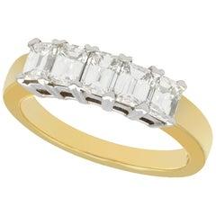 1.00 Carat Diamond Five-Stone Yellow Gold Half Eternity Ring