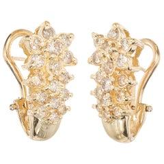 1.00 Carat Diamond Flower Design Clip Post Yellow Gold Earrings