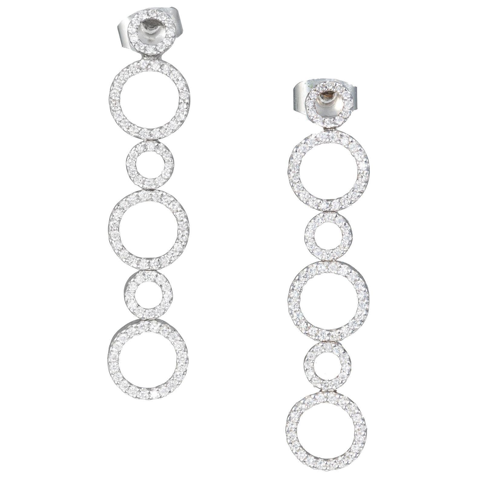 1.00 Carat Diamond Gold Circle Dangle Earrings