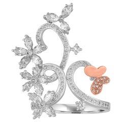 1.00 Carat Diamond Gold Flower Branch Ring