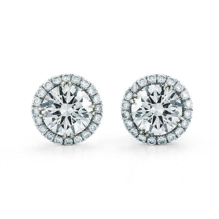 Modern 1.00 Carat Diamond Halo Stud Earrings in 14 Karat White Gold, by The Diamond Oak For Sale
