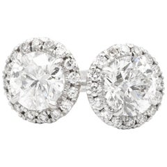 1.00 Carat Diamond Halo Stud Earrings in 14 Karat White Gold, by The Diamond Oak