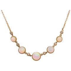 1.00 Carat Diamond & Australian Opal & Diamond Yellow Gold Necklace, Australian
