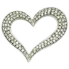 1.00 Carat Diamond Pave Heart Pendant 14 Karat Gold