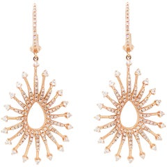 1.00 Carat Diamond Pear Shape Earrings 14K Rose Gold Starburst Earring Dangles