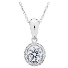 1.00 Carat Diamond Pendant in 18 Karat White Gold
