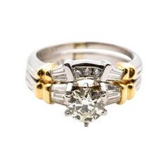 1.00 Carat Diamond Platinum and 18 Carat Gold Bridal Engagement Wedding Ring Set