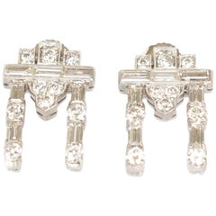 1.00 Carat Diamond Platinum Earrings