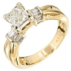 1.00 Carat Diamond Princess Cut Gold Engagement Ring
