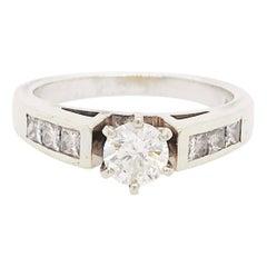 Diamond Cathedral Ring, 1 Carat Six Prong Setting, Round and Princess 14k